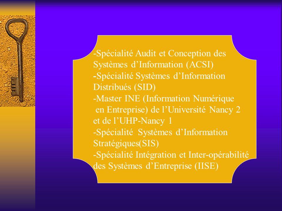 -Spécialité Audit et Conception des