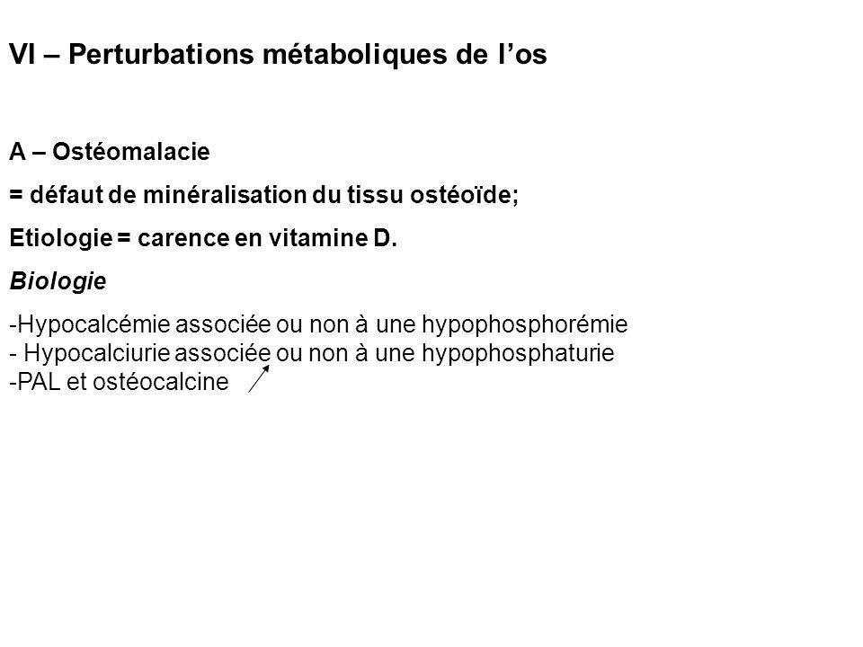 VI – Perturbations métaboliques de l'os