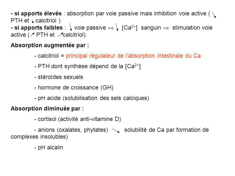 - si apports élevés : absorption par voie passive mais inhibition voie active ( PTH et calcitriol )