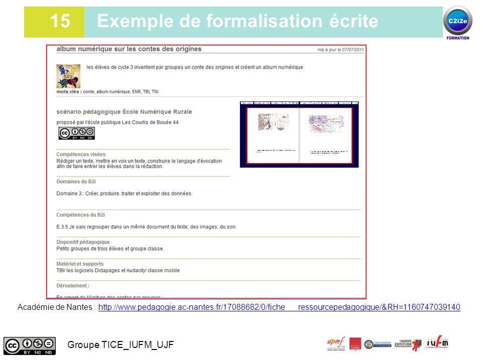 15 Exemple de formalisation écrite