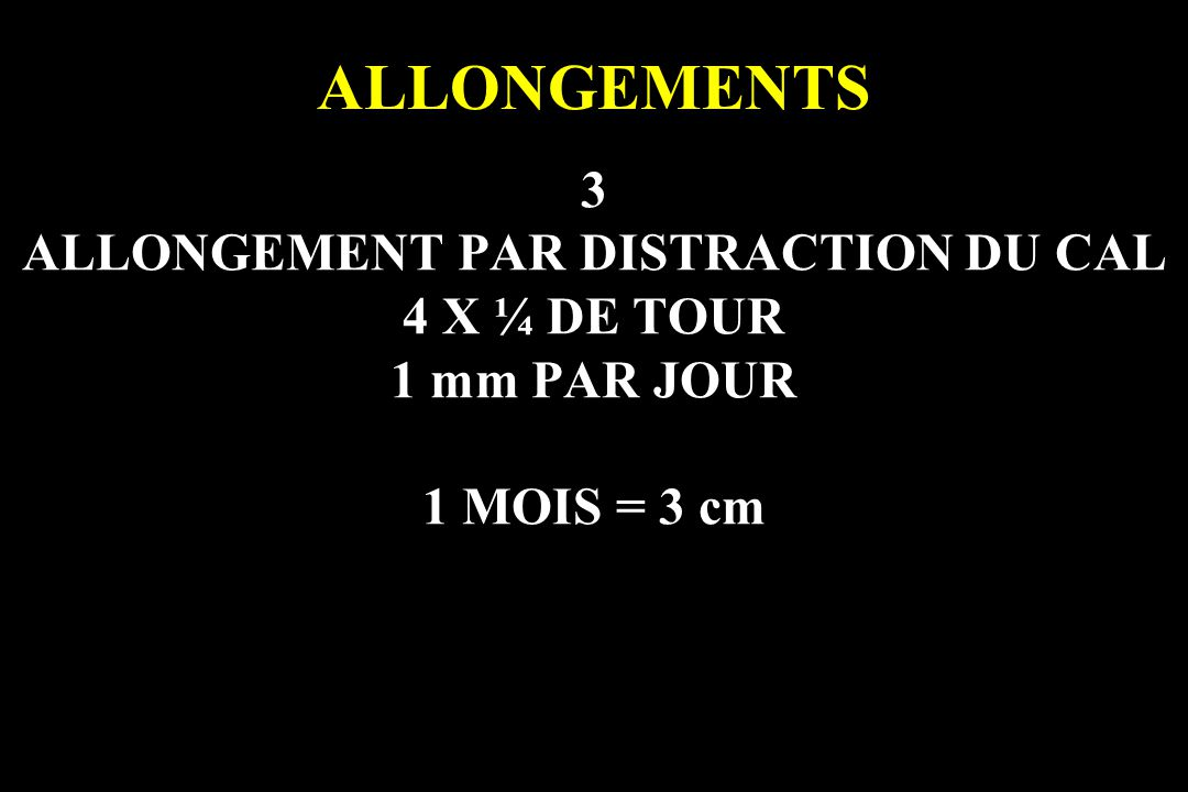 ALLONGEMENT PAR DISTRACTION DU CAL
