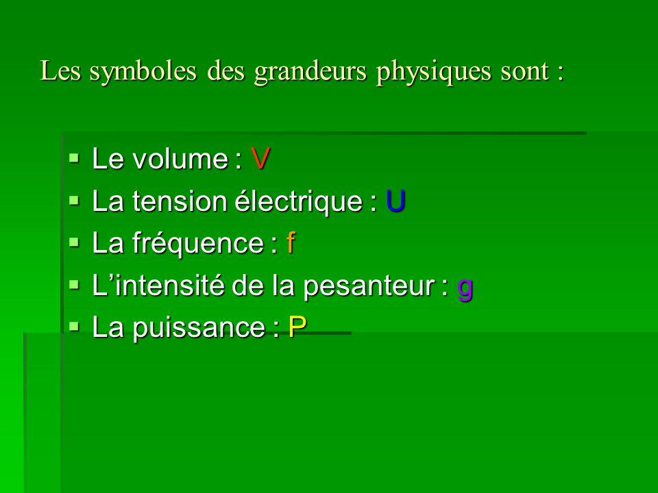 Les symboles des grandeurs physiques sont :