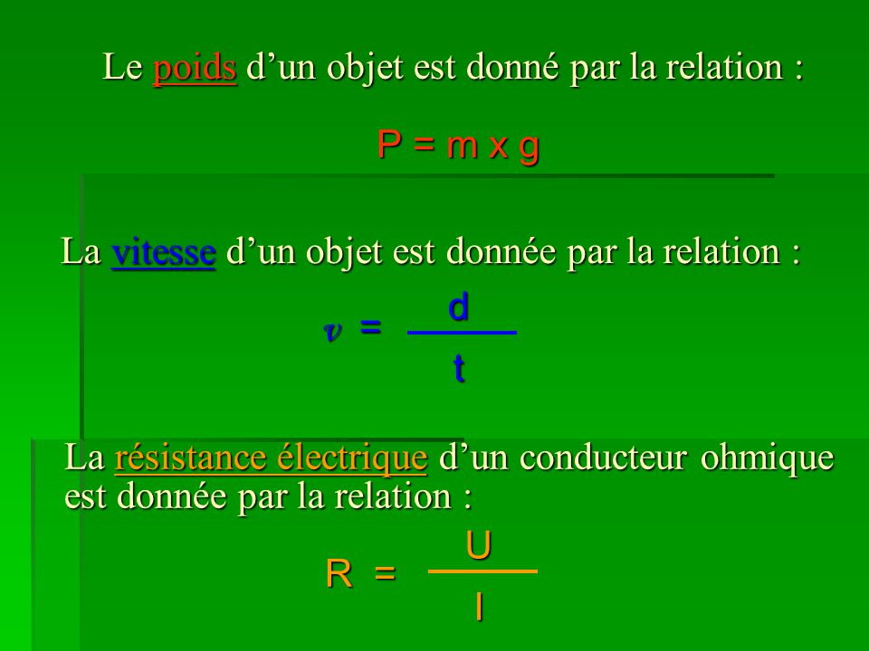 Le poids d'un objet est donné par la relation : P = m x g