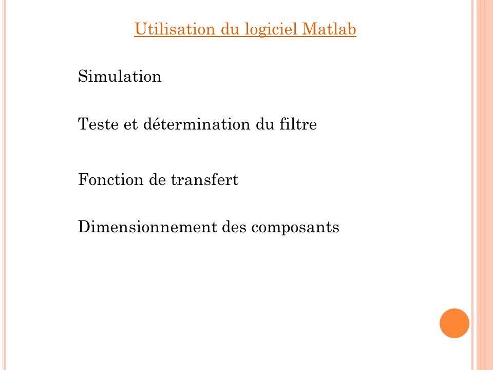 Utilisation du logiciel Matlab Simulation Teste et détermination du filtre Fonction de transfert Dimensionnement des composants