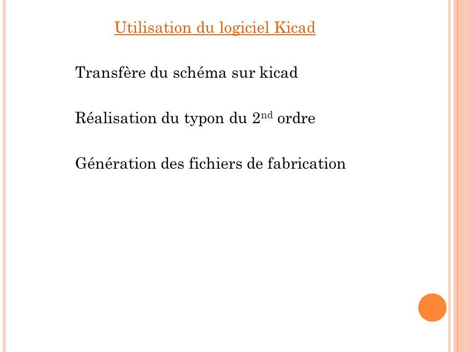 Utilisation du logiciel Kicad Transfère du schéma sur kicad Réalisation du typon du 2nd ordre Génération des fichiers de fabrication