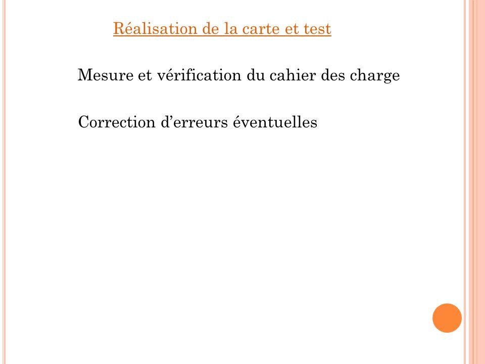 Réalisation de la carte et test Mesure et vérification du cahier des charge Correction d'erreurs éventuelles