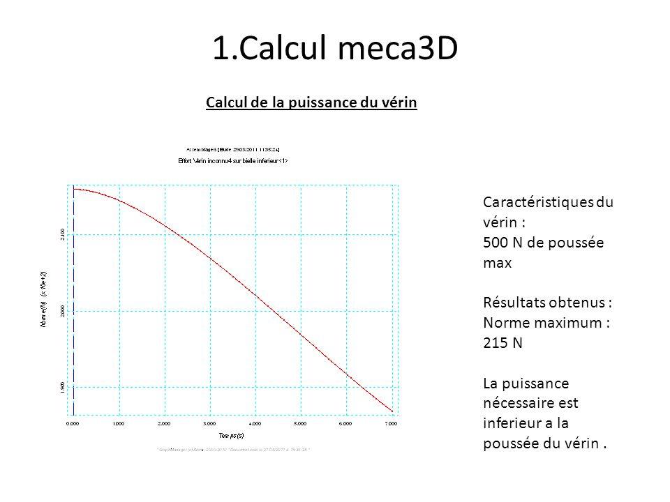 1.Calcul meca3D Calcul de la puissance du vérin
