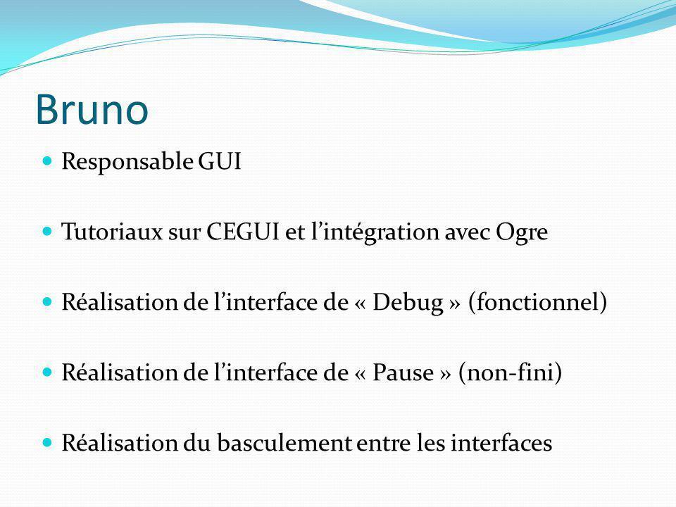 Bruno Responsable GUI Tutoriaux sur CEGUI et l'intégration avec Ogre