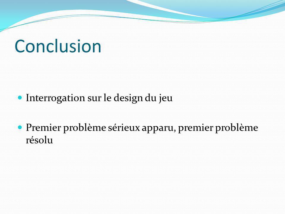 Conclusion Interrogation sur le design du jeu