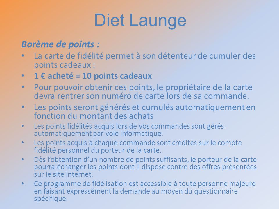 Diet Launge Barème de points :