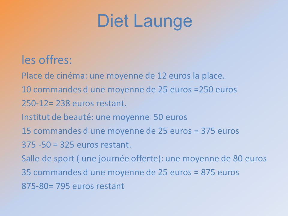 Diet Launge les offres: