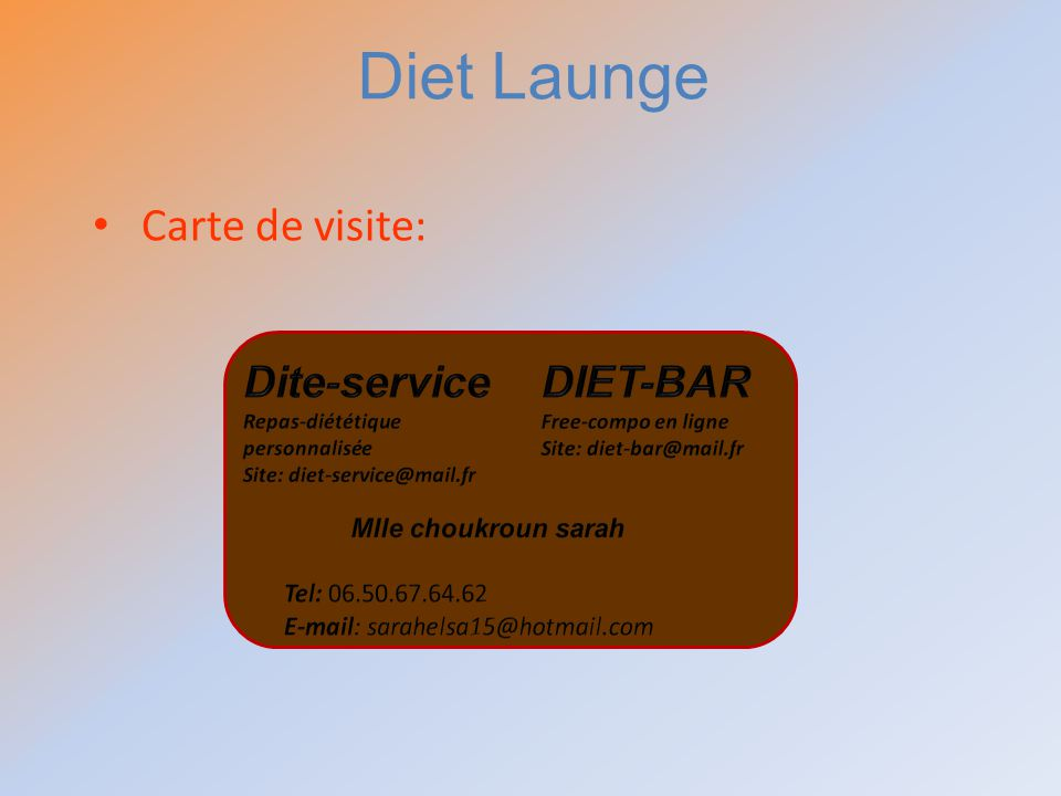 Diet Launge Carte de visite: Dite-service DIET-BAR