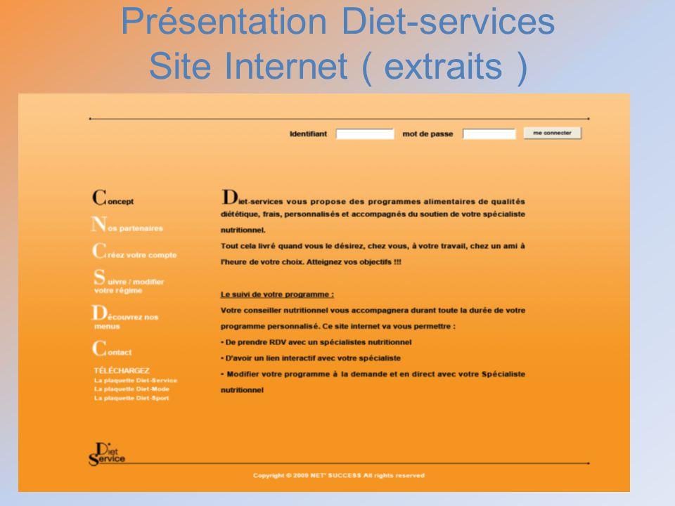 Présentation Diet-services Site Internet ( extraits )