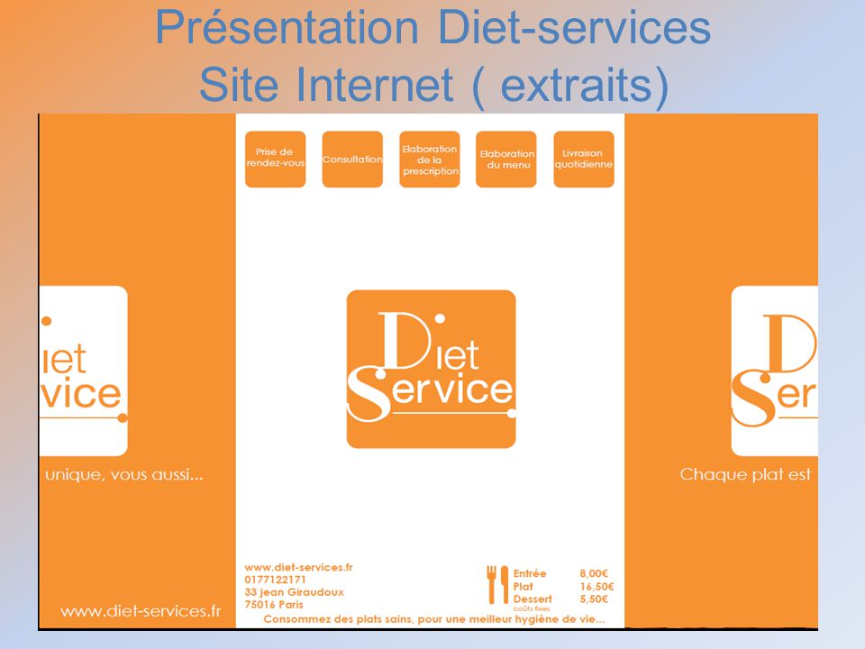 Présentation Diet-services Site Internet ( extraits)