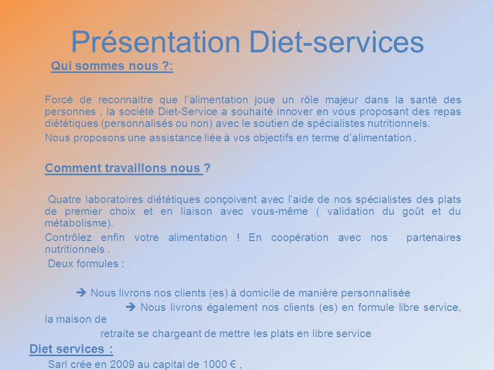 Présentation Diet-services