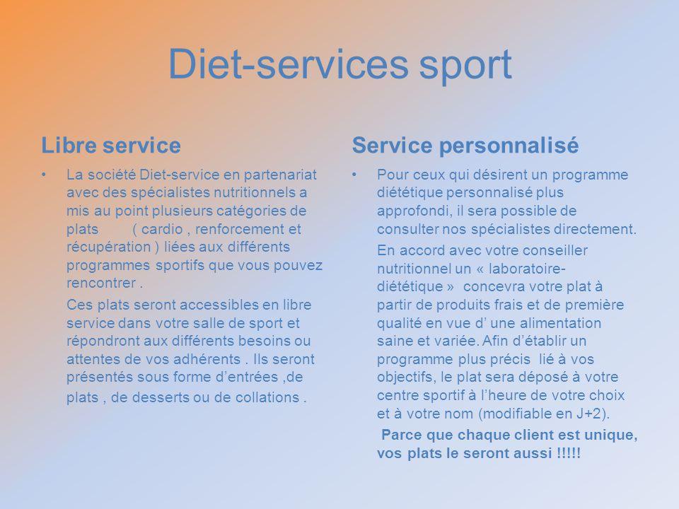 Diet-services sport Libre service Service personnalisé