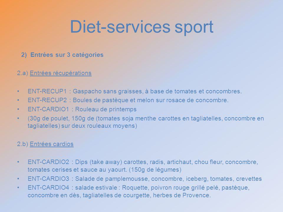 Diet-services sport 2) Entrées sur 3 catégories