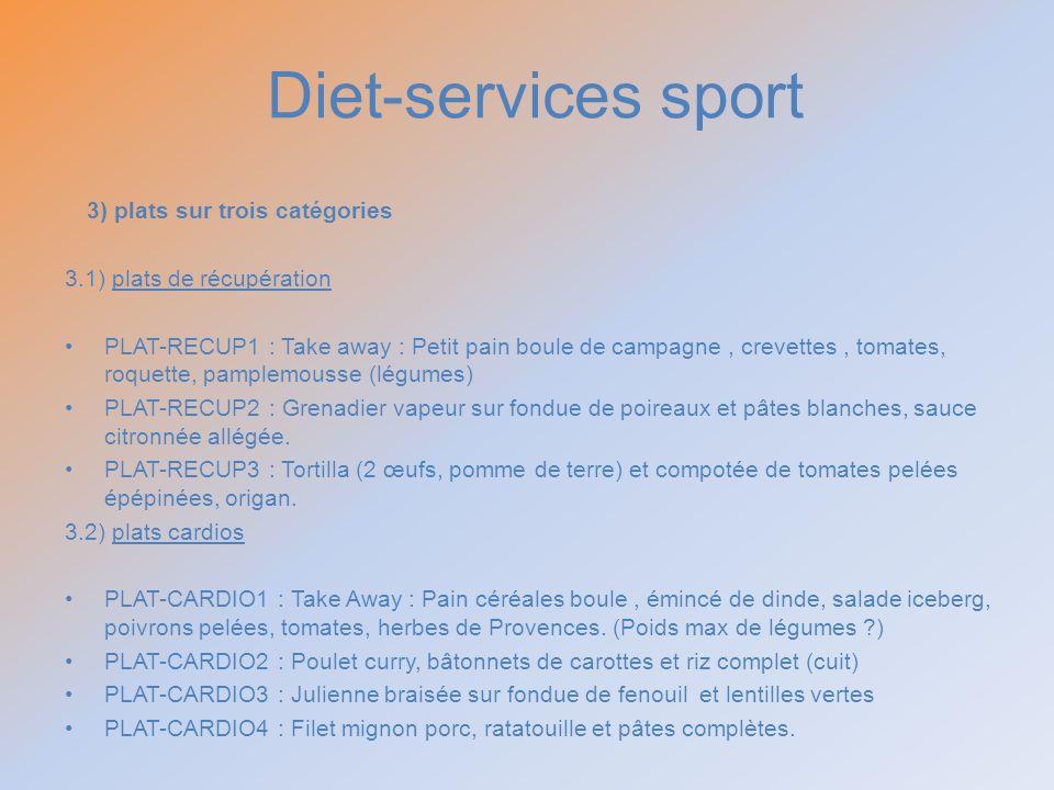 Diet-services sport 3) plats sur trois catégories