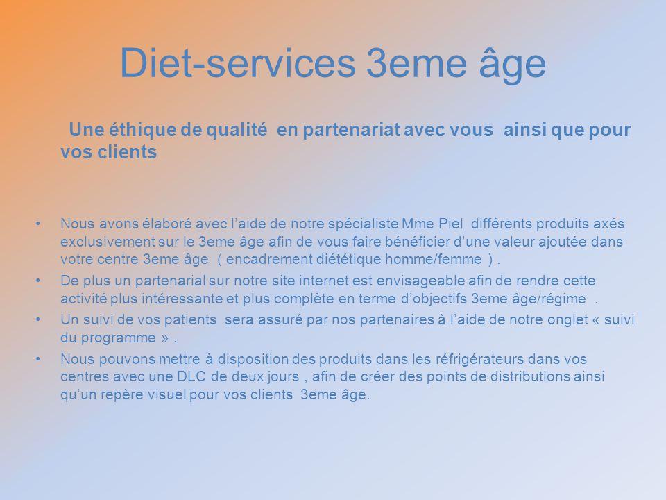Diet-services 3eme âge Une éthique de qualité en partenariat avec vous ainsi que pour vos clients.