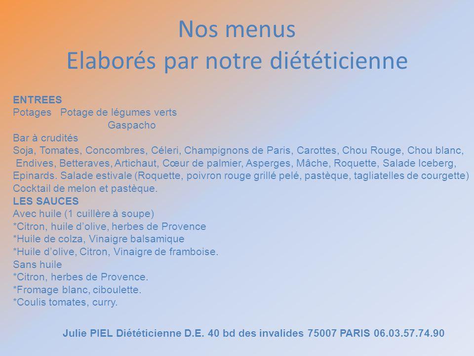 Nos menus Elaborés par notre diététicienne