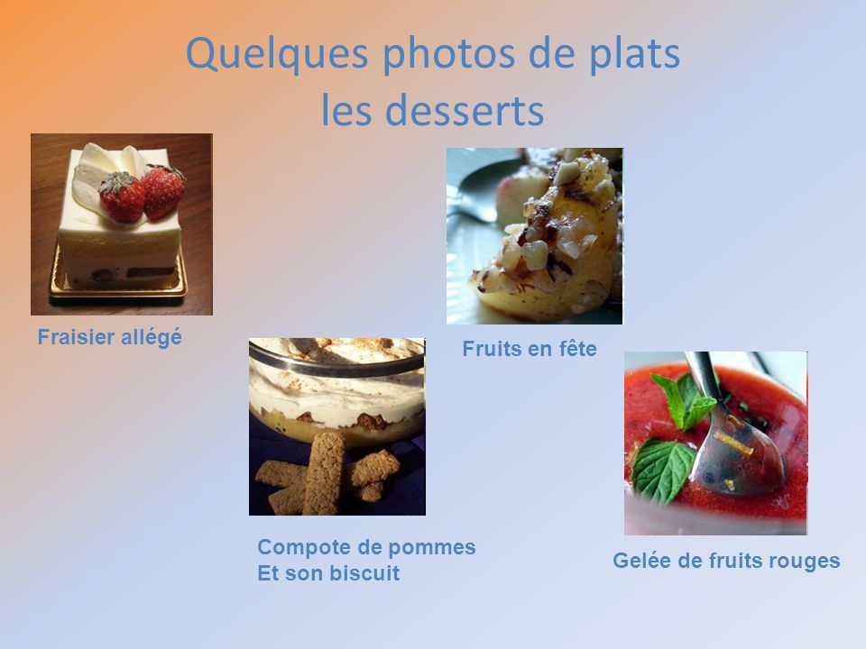 Quelques photos de plats les desserts