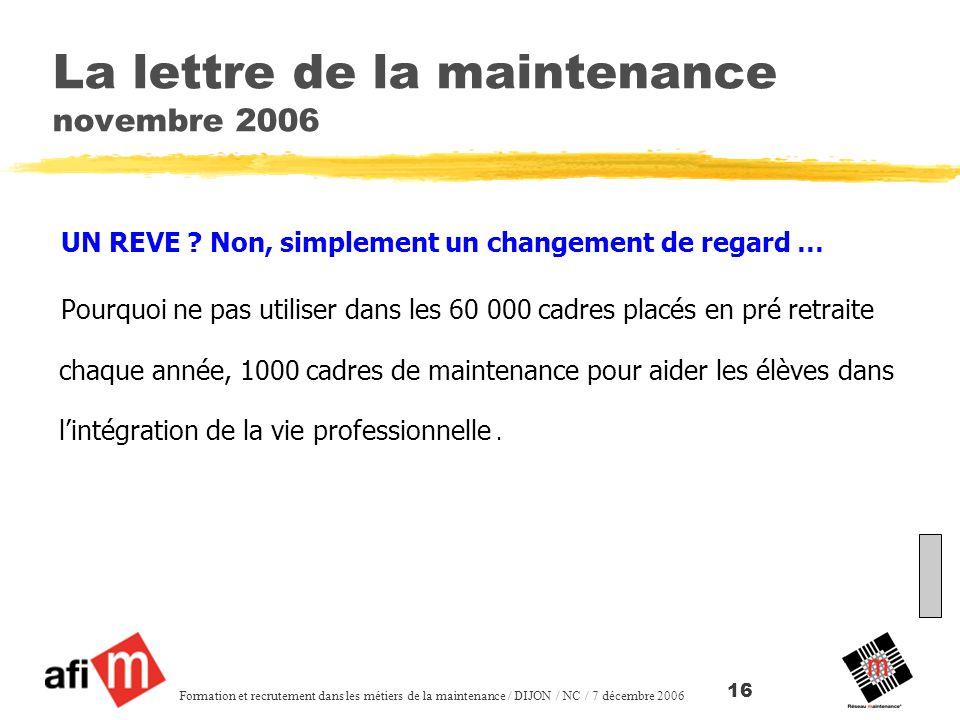 La lettre de la maintenance novembre 2006