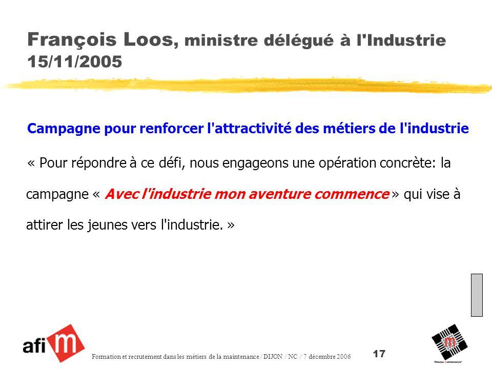 François Loos, ministre délégué à l Industrie 15/11/2005