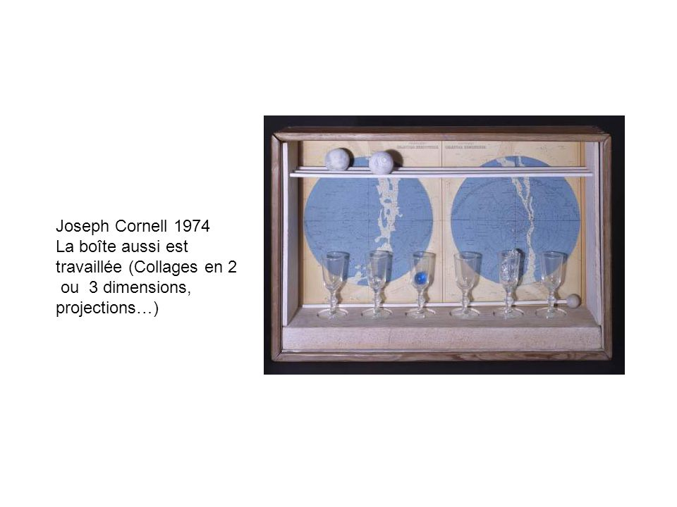 Joseph Cornell 1974 La boîte aussi est travaillée (Collages en 2 ou 3 dimensions, projections…)