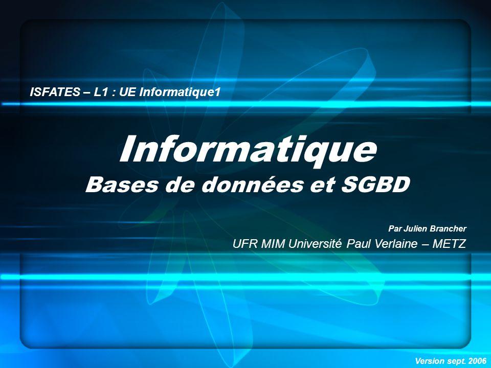 Bases de données et SGBD
