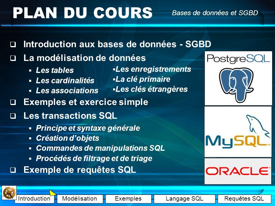 PLAN DU COURS Introduction aux bases de données - SGBD