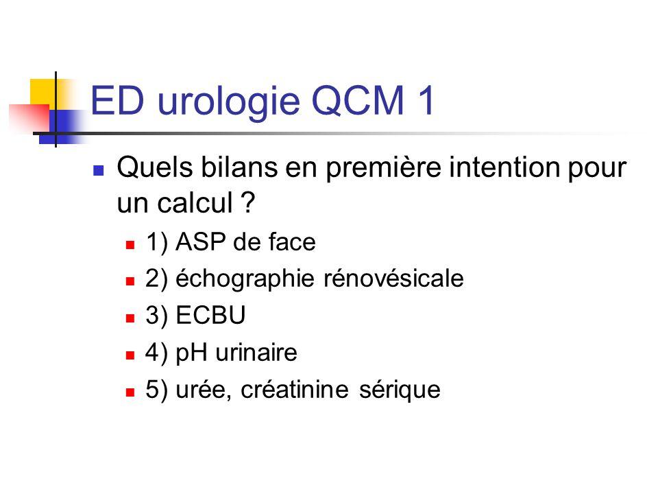 ED urologie QCM 1 Quels bilans en première intention pour un calcul