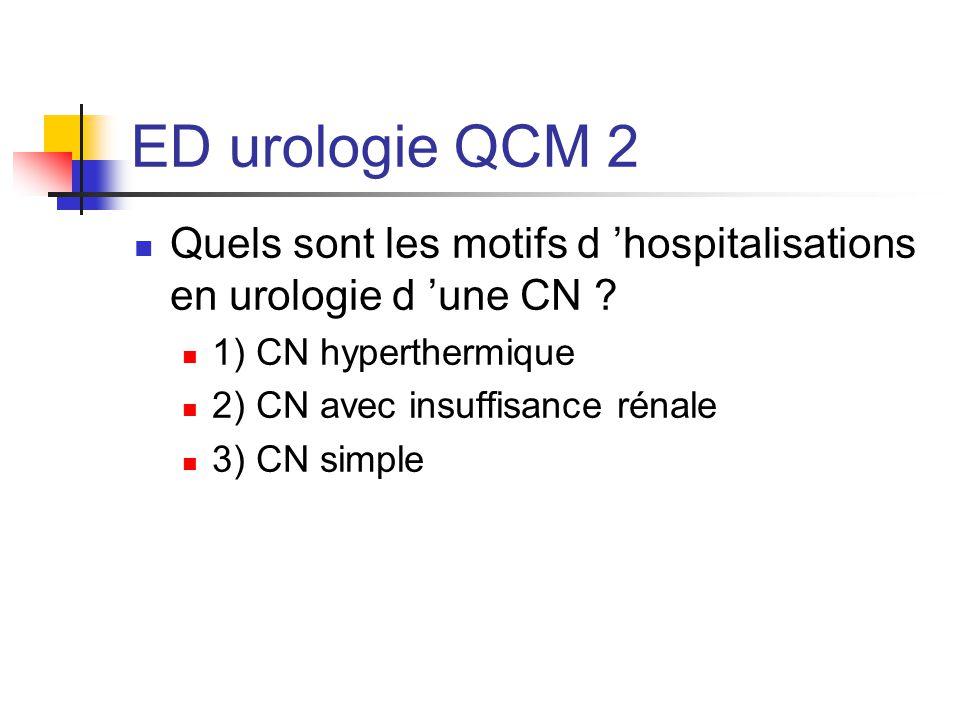 ED urologie QCM 2 Quels sont les motifs d 'hospitalisations en urologie d 'une CN 1) CN hyperthermique.