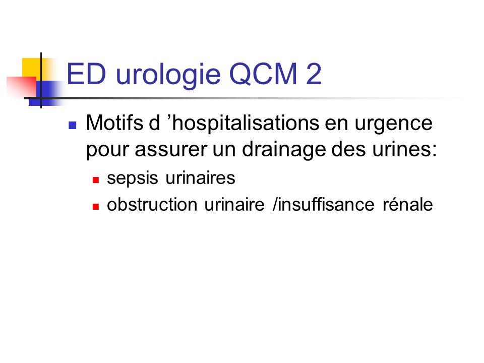 ED urologie QCM 2 Motifs d 'hospitalisations en urgence pour assurer un drainage des urines: sepsis urinaires.