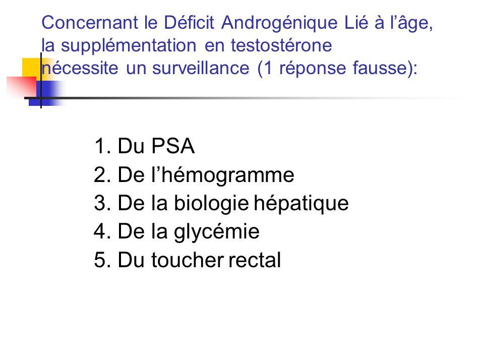 3. De la biologie hépatique 4. De la glycémie 5. Du toucher rectal
