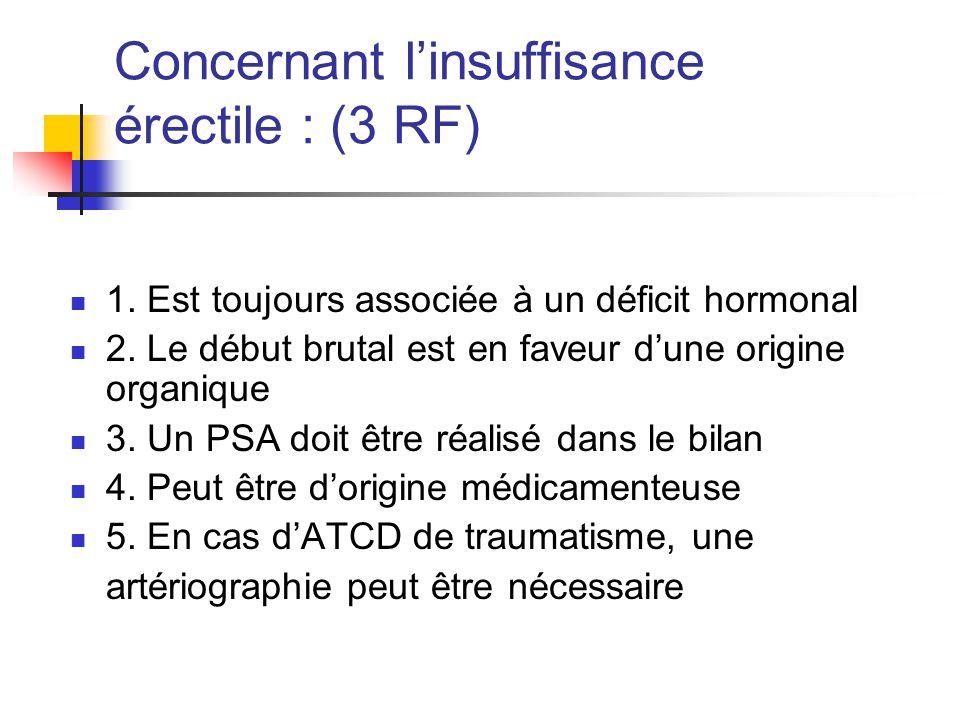 Concernant l'insuffisance érectile : (3 RF)