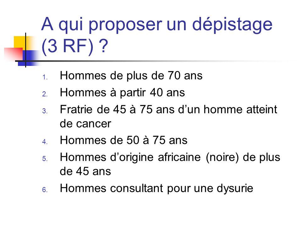 A qui proposer un dépistage (3 RF)