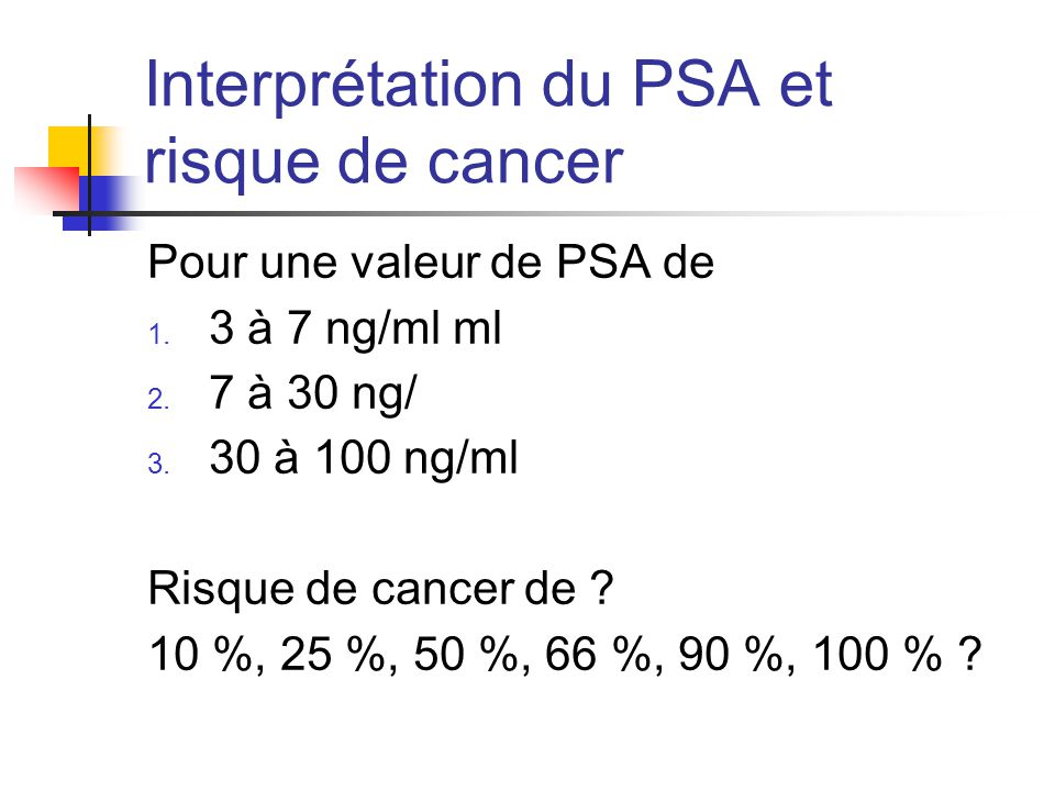 Interprétation du PSA et risque de cancer