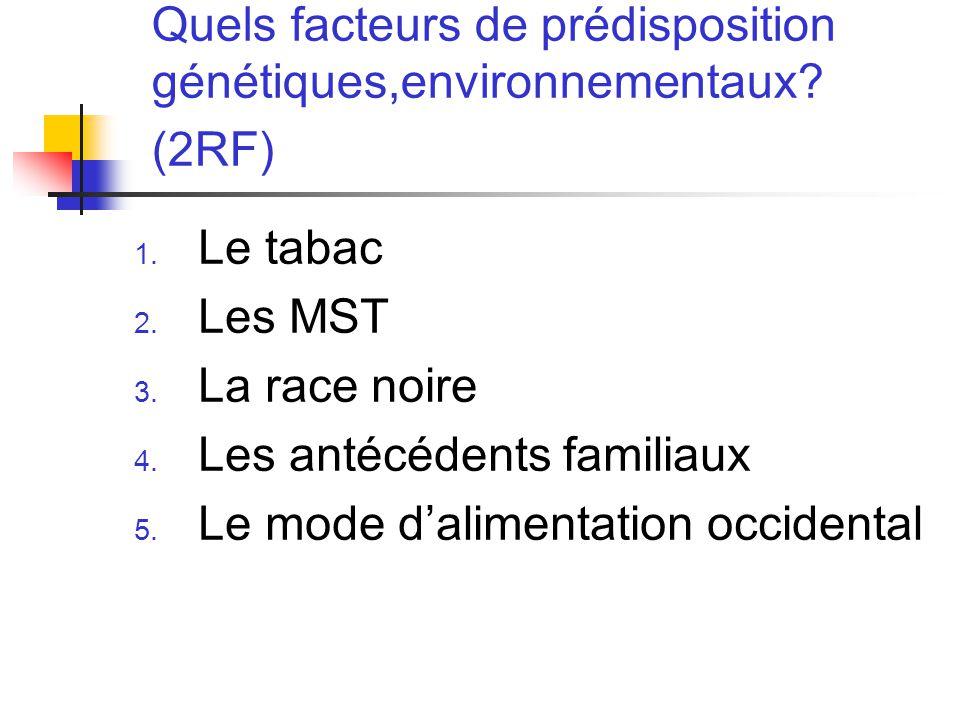 Quels facteurs de prédisposition génétiques,environnementaux (2RF)