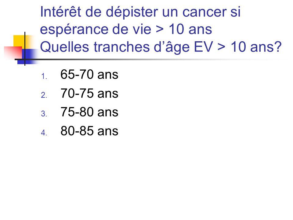 Intérêt de dépister un cancer si espérance de vie > 10 ans Quelles tranches d'âge EV > 10 ans