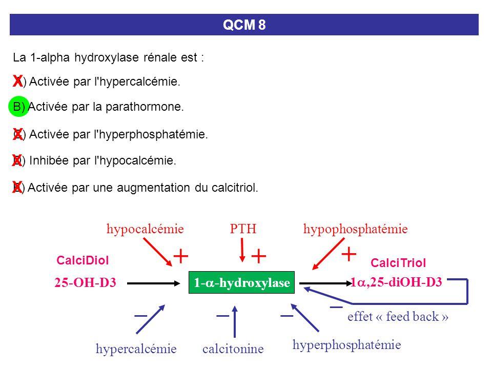 + + + _ _ _ _ X X X X QCM 8 hypocalcémie PTH hypophosphatémie 25-OH-D3
