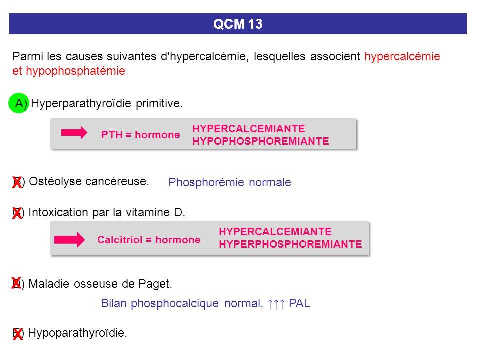 QCM 13 Parmi les causes suivantes d hypercalcémie, lesquelles associent hypercalcémie et hypophosphatémie.