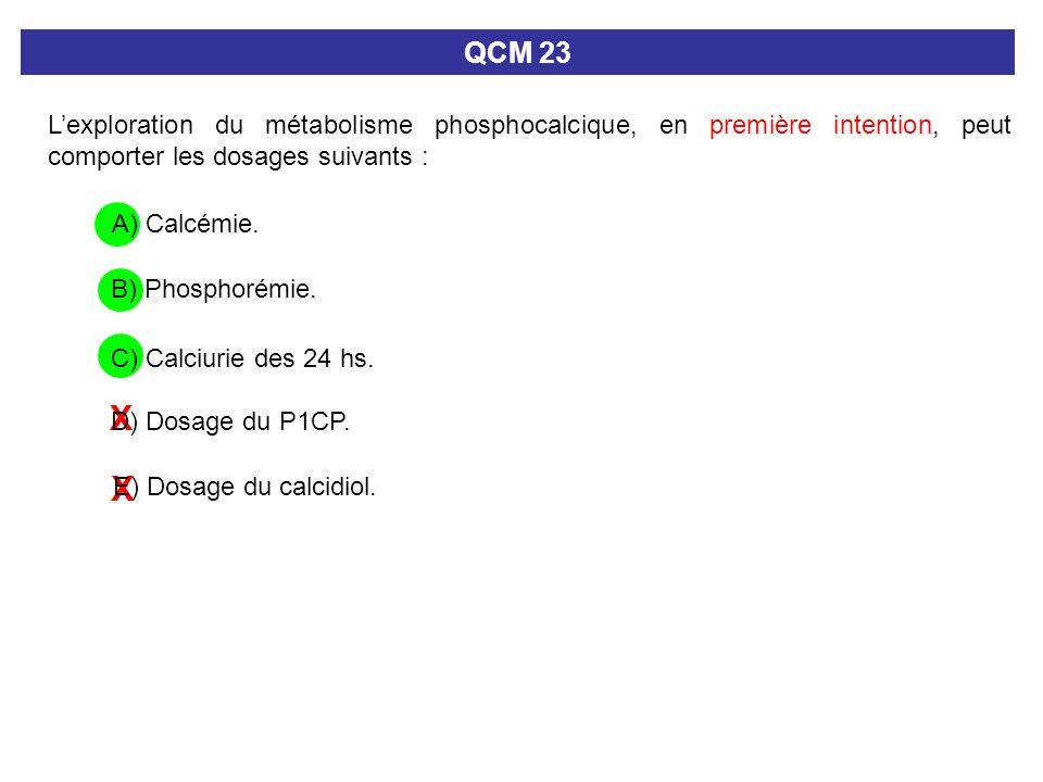 QCM 23 L'exploration du métabolisme phosphocalcique, en première intention, peut comporter les dosages suivants :