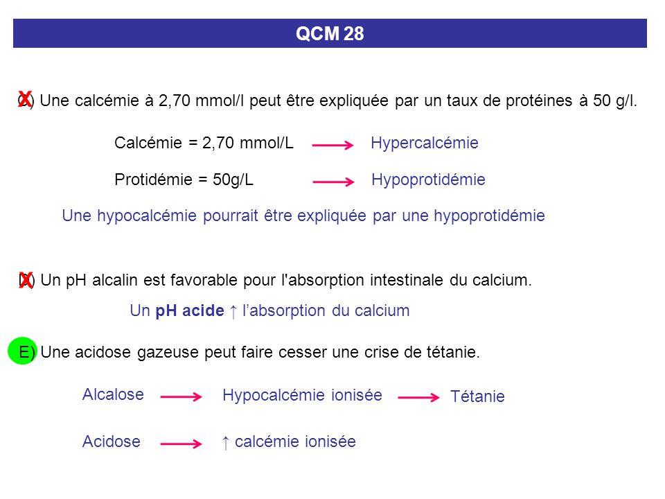 QCM 28 X. C) Une calcémie à 2,70 mmol/l peut être expliquée par un taux de protéines à 50 g/l. Calcémie = 2,70 mmol/L.