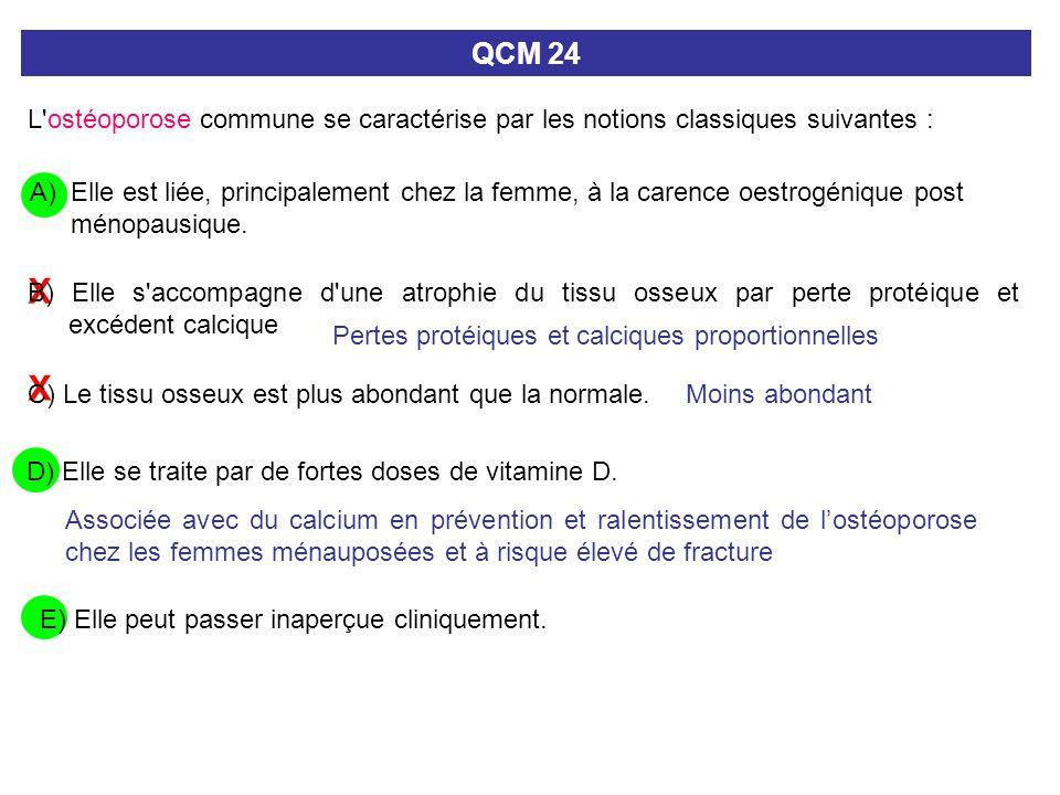 QCM 24 L ostéoporose commune se caractérise par les notions classiques suivantes :