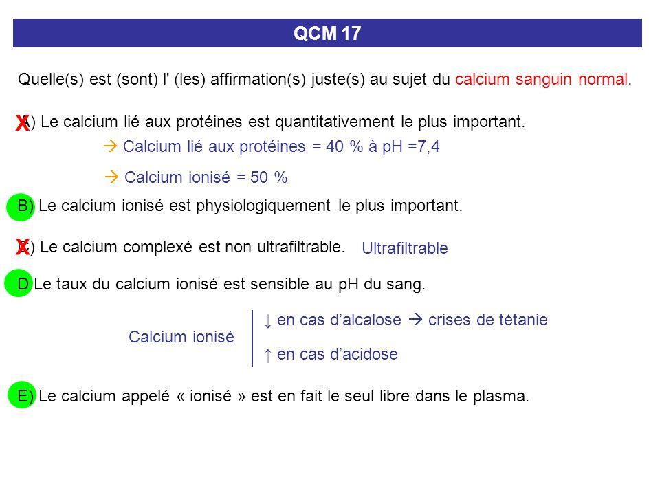 QCM 17 Quelle(s) est (sont) l (les) affirmation(s) juste(s) au sujet du calcium sanguin normal. X.