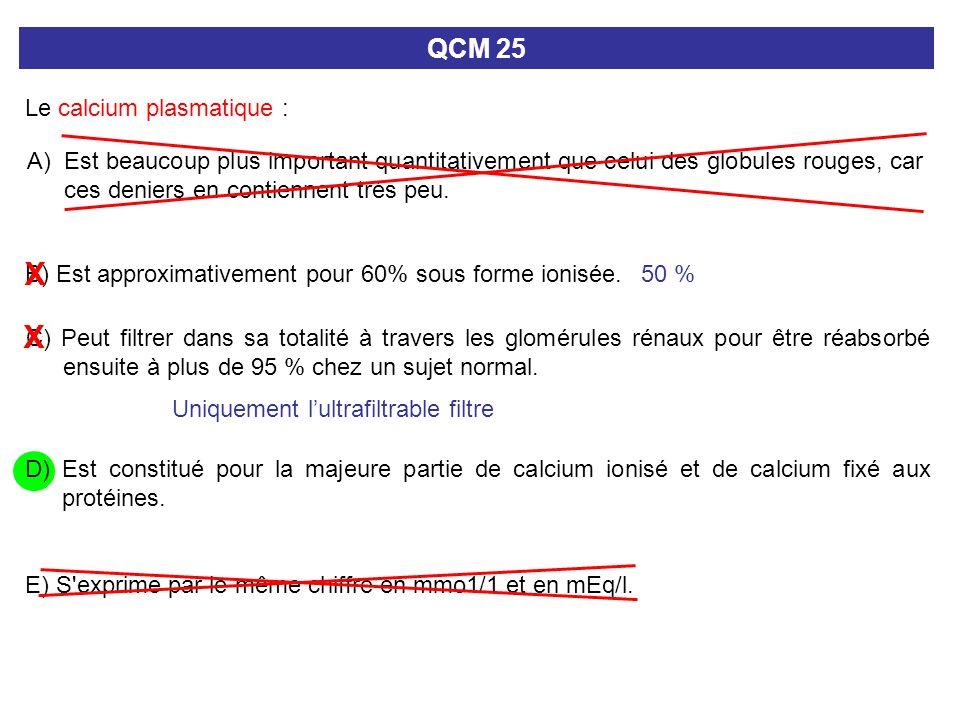 X X QCM 25 Le calcium plasmatique :