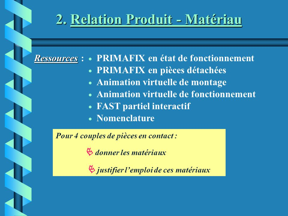 2. Relation Produit - Matériau