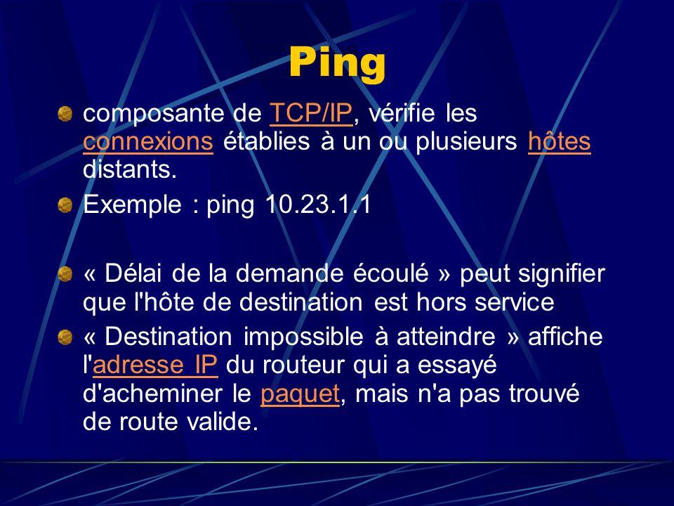 Ping composante de TCP/IP, vérifie les connexions établies à un ou plusieurs hôtes distants. Exemple : ping 10.23.1.1.