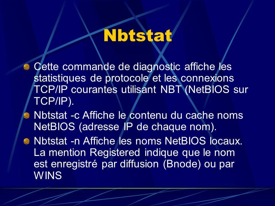 Nbtstat Cette commande de diagnostic affiche les statistiques de protocole et les connexions TCP/IP courantes utilisant NBT (NetBIOS sur TCP/IP).