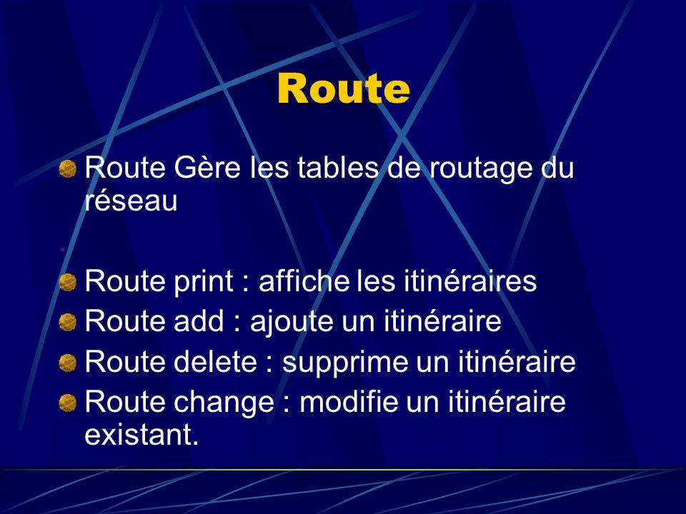 Route Route Gère les tables de routage du réseau .